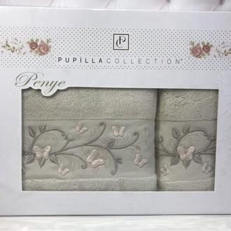 Набор полотенец для ванной в подарочной упаковке 2 пр. Pupilla EVA хлопковая махра серый