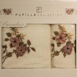 Набор полотенец для ванной в подарочной упаковке 2 пр. Pupilla HAYAL бамбуковая махра белый