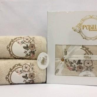 Набор полотенец для ванной в подарочной упаковке 2 пр. Pupilla HAYAL бамбуковая махра кофейный