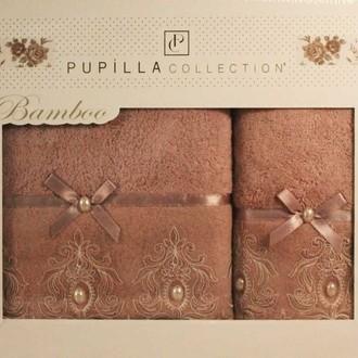 Набор полотенец для ванной в подарочной упаковке 2 пр. Pupilla INCI бамбуковая махра сиреневый