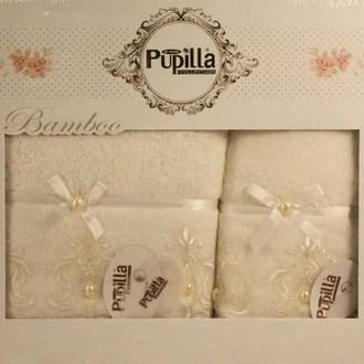 Набор полотенец для ванной в подарочной упаковке 2 пр. Pupilla INCI бамбуковая махра белый