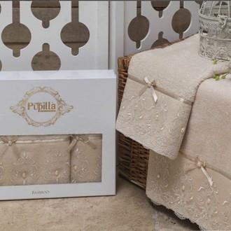 Набор полотенец для ванной в подарочной упаковке 2 пр. Pupilla INCI бамбуковая махра кофейный