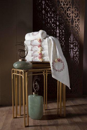 Набор полотенец для ванной в подарочной упаковке 2 пр. Pupilla LINDA бамбуковая махра белый, фото, фотография