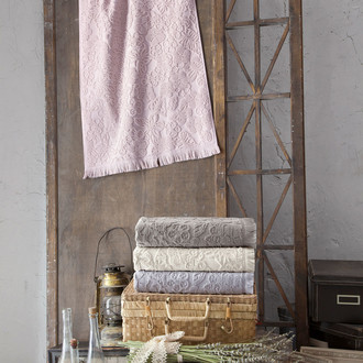 Набор полотенец для ванной в подарочной упаковке 2 пр. Pupilla MAYA хлопковая махра пудра
