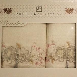 Набор полотенец для ванной в подарочной упаковке 2 пр. Pupilla ROSELINDA бамбуковая махра белый
