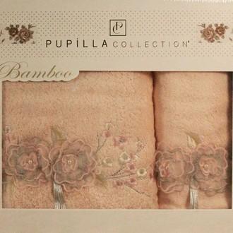 Набор полотенец для ванной в подарочной упаковке 2 пр. Pupilla ROSELINDA бамбуковая махра розовый
