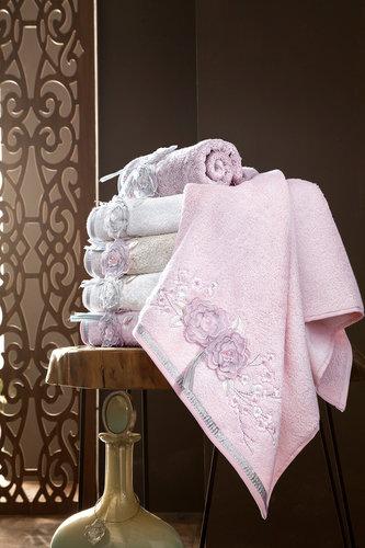 Набор полотенец для ванной в подарочной упаковке 2 пр. Pupilla ROSELINDA бамбуковая махра розовый, фото, фотография