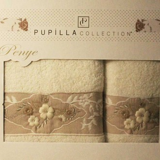 Набор полотенец для ванной в подарочной упаковке 2 пр. Pupilla SELENA хлопковая махра белый
