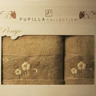 Набор полотенец для ванной в подарочной упаковке 2 пр. Pupilla SELENA хлопковая махра кофейный
