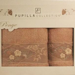 Набор полотенец для ванной в подарочной упаковке 2 пр. Pupilla SELENA хлопковая махра сиреневый