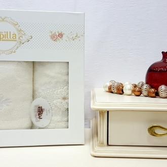 Набор полотенец для ванной в подарочной упаковке 2 пр. Pupilla STIL бамбуковая махра белый
