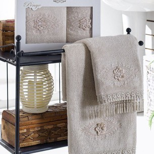 Набор полотенец для ванной в подарочной упаковке 2 пр. Pupilla STIL бамбуковая махра кофейный