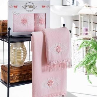 Набор полотенец для ванной в подарочной упаковке 2 пр. Pupilla STIL бамбуковая махра розовый