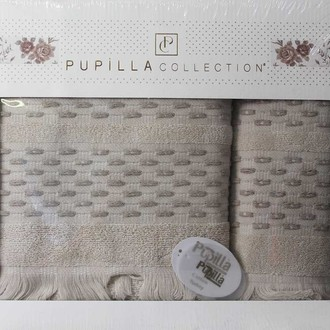 Набор полотенец для ванной в подарочной упаковке 2 пр. Pupilla STORY хлопковая махра кофейный
