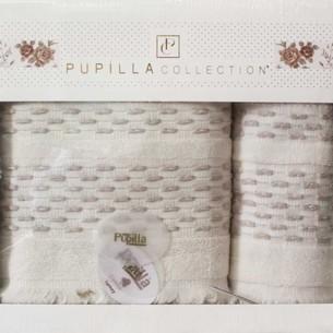 Набор полотенец для ванной в подарочной упаковке 2 пр. Pupilla STORY хлопковая махра кремовый