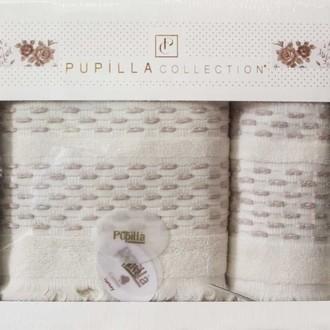 Набор полотенец для ванной в подарочной упаковке 2 пр. Pupilla STORY хлопковая махра светло-бежевый