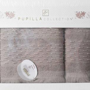 Набор полотенец для ванной в подарочной упаковке 2 пр. Pupilla STORY хлопковая махра бежевый