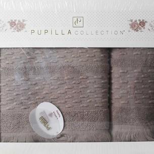 Набор полотенец для ванной в подарочной упаковке 2 пр. Pupilla STORY хлопковая махра тёмно-кофейный