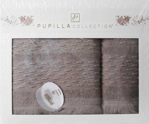 Набор полотенец для ванной в подарочной упаковке 2 пр. Pupilla STORY хлопковая махра тёмно-кофейный, фото, фотография