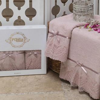 Набор полотенец для ванной в подарочной упаковке 2 пр. Pupilla VITA бамбуковая махра розовый