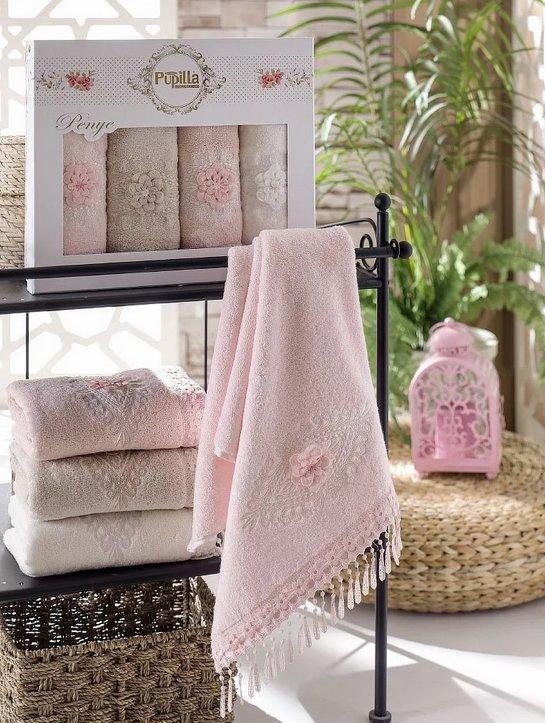 Набор полотенец для ванной в подарочной упаковке 4 шт. Pupilla STIL бамбуковая махра 50*90, фото, фотография