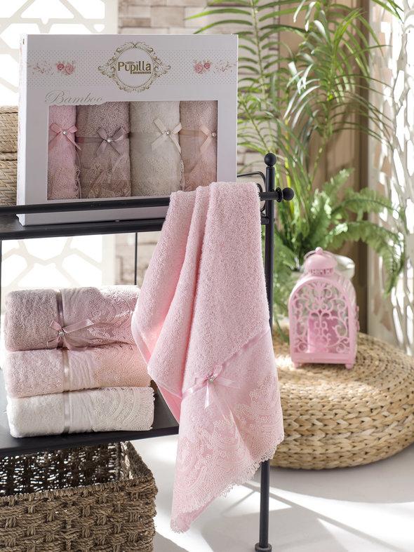 Набор полотенец для ванной в подарочной упаковке 4 шт. Pupilla VITA бамбуковая махра 50*90, фото, фотография
