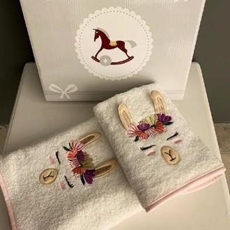 Подарочный набор детских полотенец для ванной 2 пр. La Villa LAMA DESENLI хлопковая махра розовый