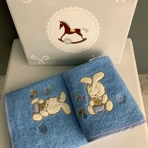 Подарочный набор детских полотенец для ванной 2 пр. La Villa TAVSAN DESEN хлопковая махра голубой