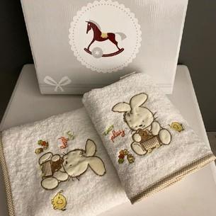 Подарочный набор детских полотенец для ванной 2 пр. La Villa TAVSAN DESEN хлопковая махра кремовый