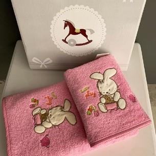 Подарочный набор детских полотенец для ванной 2 пр. La Villa TAVSAN DESEN хлопковая махра розовый