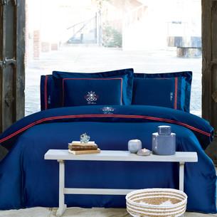 Постельное белье Tivolyo Home NAVY хлопковый сатин делюкс (синий) евро