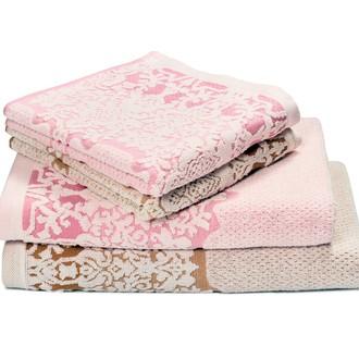 Набор полотенец для ванной 4 шт. Ozdilek AMATA хлопковая махра розовый