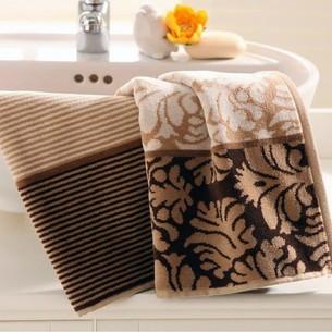 Набор полотенец для ванной 4 шт. Ozdilek DAMASK хлопковый велюр кофейный, с орнаментом 100х150