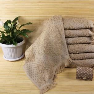 Набор полотенец для ванной 6 шт. Ozdilek DELFINO хлопковая махра кофейный 50х90