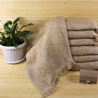 Набор полотенец для ванной 6 шт. Ozdilek DELFINO хлопковая махра кофейный