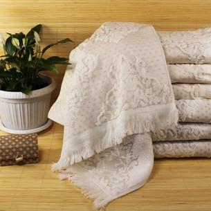 Набор полотенец для ванной 6 шт. Ozdilek DELFINO хлопковая махра кремовый 70х140