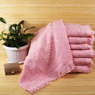 Набор полотенец для ванной 6 шт. Ozdilek DELFINO хлопковая махра розовый 70х140