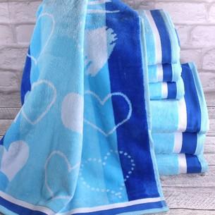 Набор полотенец для ванной 6 шт. Ozdilek LOVE STORY хлопковая махра голубой 70х140