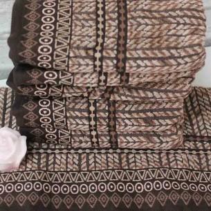 Набор полотенец для ванной 4 шт. Ozdilek TERAPHY хлопковый велюр кофейный 100х150