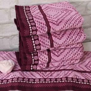 Набор полотенец для ванной 6 шт. Ozdilek VENNA хлопковый велюр бордовый 70х140
