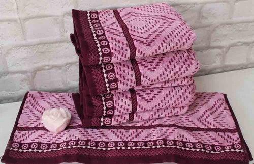 Набор полотенец для ванной 6 шт. Ozdilek VENNA хлопковый велюр бордовый 70х140, фото, фотография