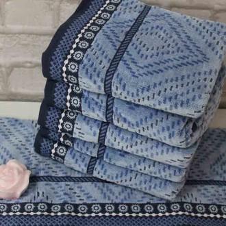 Набор полотенец для ванной 4 шт. Ozdilek VENNA хлопковый велюр синий