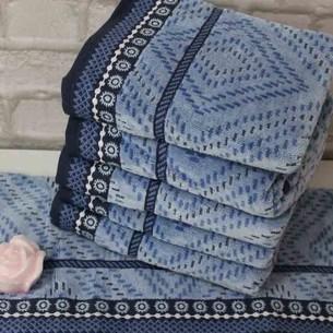 Набор полотенец для ванной 6 шт. Ozdilek VENNA хлопковый велюр синий 70х140