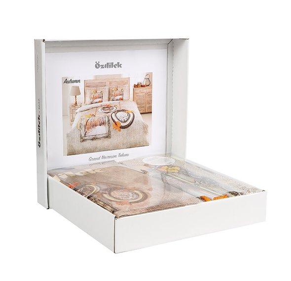 Постельное белье Ozdilek GRAND AUTUMN хлопковый ранфорс бежевый евро, фото, фотография