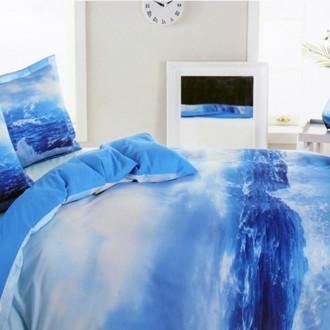 Постельное белье Ozdilek GRAND WAVE хлопковый ранфорс голубой