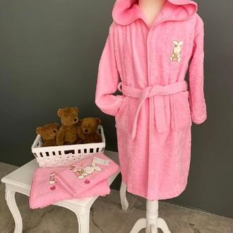 Детский халат La Villa TAVSAN хлопковая махра розовый