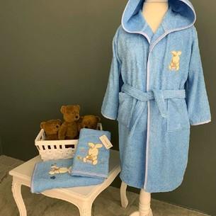 Детский халат La Villa TAVSAN хлопковая махра синий 4 года