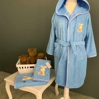 Детский халат La Villa TAVSAN хлопковая махра синий
