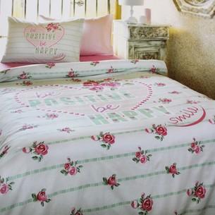 Постельное белье Ozdilek MODALETTO BELLA POSITIVE хлопковый ранфорс зелёный 1,5 спальный