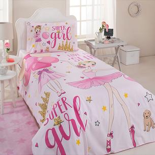 Детское постельное белье Ozdilek RANFORCE SUPER GIRL хлопковый ранфорс розовый 1,5 спальный